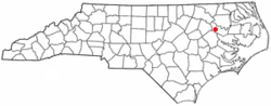Location of Robersonville, North Carolina