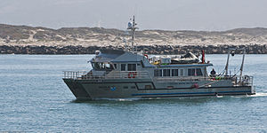 NOAA R6701 National Marine Sanctuaries boat vessel ship enters Morro Bay, CA harbor.jpg