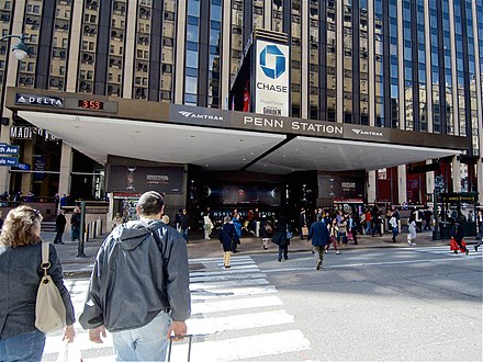 Entrance to New York City's Penn Station, Amtrak's busiest station by boardings. NYC Penn Station 7th Avenue Entrance 2013.jpg
