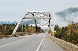 Thompson River - Hwy 5 bridge, first crossing of N. Thompson River after emerging from the Cariboo Mountains