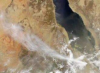 2011 Nabro eruption - Image: Nabro Volcano ash cloud 2011 06 13, Eritrea