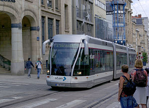 Bombardier Guided Light Transit - GLT vehicles bear a strong resemblance to trams, but are actually buses capable of following a single guidance rail or even operating without any surface guidance system.