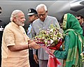 Narendra Modi being welcomed by the Governor of Jammu and Kashmir, Shri N.N. Vohra and the Chief Minister of Jammu and Kashmir, Ms. Mehbooba Mufti, on his arrival, at Jammu Airport, in Jammu and Kashmir.jpg