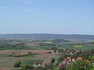 Haßberge Hills - The Haßberge including their highest summit, the Nassacher Höhe (centre)