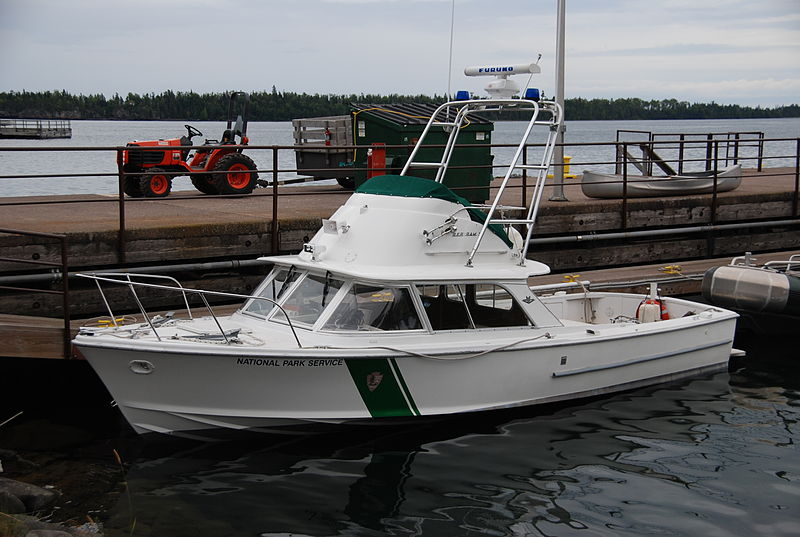 National Park Service patrol boat, Rock Harbor, Isle Royale National Park, Michigan.jpg