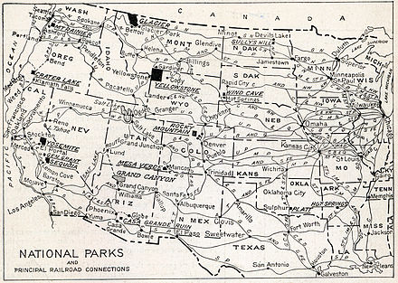 In 1916, a portfolio of nine major parks was published to generate interest. Printed on each brochure was a map showing the parks and principal railroad connections. Natlparks and RRs 1916.jpg