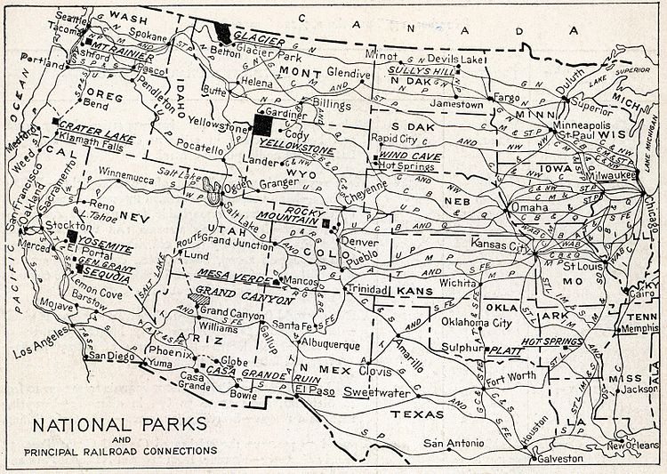 The map shows the location of all the National Parks and their principal railroad connections as of 1916