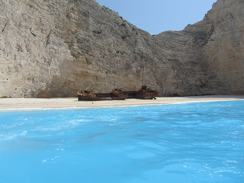 File:Navagio Beach and Shipwreck of the Panagiotis at 'Smugglers Cove' Zakynthos.JPG