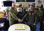 Navy officers cut the cake in celebration of the U.S. Navy's 241st birthday at Naval Air Facility Misawa. (29668520153).jpg