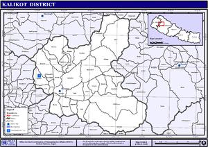 Kalikot District - Map of the VDCs in Kalikot District