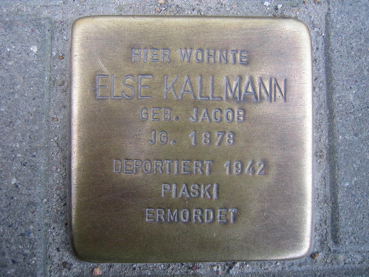 Stolperstein für Else Kallmann