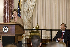 Mark R. Dybul - Mark R. Dybul with Laura Bush during his swearing-in on October 10, 2006.