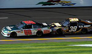 Stewart-Haas Racing - Ryan Newman tandem racing with Dale Earnhardt, Jr. during the 2011 Gatorade Duels at Daytona