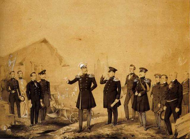 Николай I на строительных работах. Второй справа от императора— придворный архитектор А.И.Штакеншнейдер.