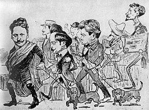 Symbolist movement in Romania - Some of the Tinerimea Artistică founders, in a caricature by Nicolae Petrescu-Găină (1903)