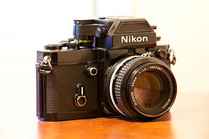 Nikon F2 - A black body F2AS (incl DP-12 prism, as seen here) was very popular among photojournalists in the 1970s.
