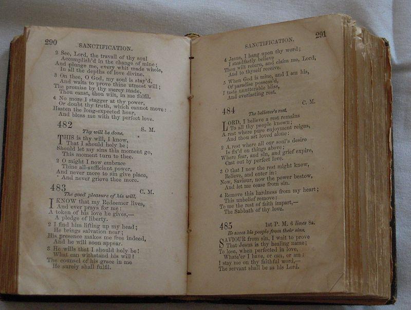 Nineteenth Century Methodist Hymnal in Barratt%27s Chapel Museum, Frederica, Delaware.jpg