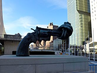 Non-Violence (sculpture) - Image: Non Violence sculpture in front of UN headquarters NY