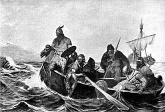 History of Iceland - Norsemen landing in Iceland. Illustration by Oscar Wergeland (1909).