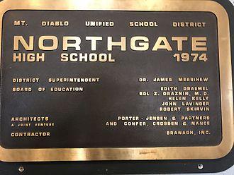 Northgate High School (Walnut Creek, California) - Plaque inside Northgate main entrance