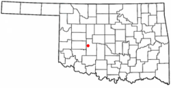 Location of Eakly, Oklahoma
