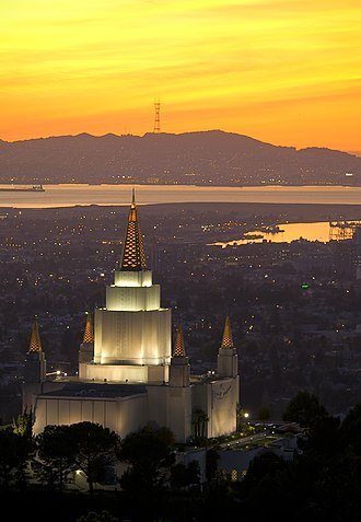 Oakland California Temple - The temple and Oakland at sunset