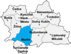 Localisation du district de Martin dans la région de Žilina (carte interactive)