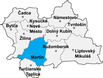 Trnovo, Martin District - Location of Martin District in the Zilina Region