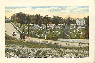 Chestnut Ridge and Schellsburg Union Church and Cemetery - Image: Old Log Churchpostcard 1920s