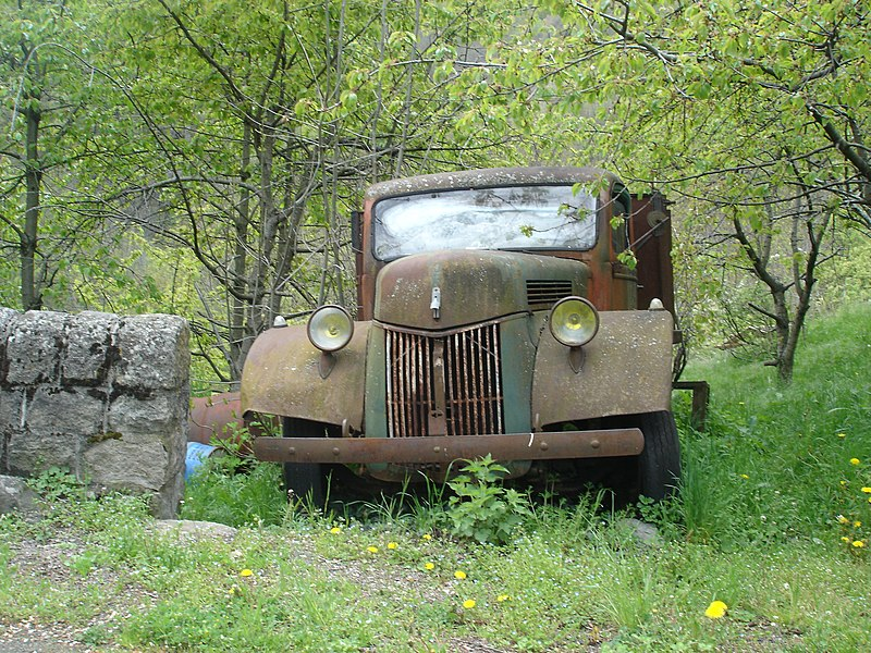 Beautiful old truck in the Pyrenees at the French side in the village Py.
