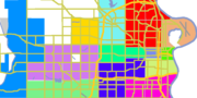 Downtown-green, Midtown-red, North-brown, South-tan, West-blue