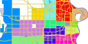 Neighborhoods of Omaha, Nebraska - Downtown-lime, East-peach, Midtown-blue-gray, North-red, South-pink, West-lavender