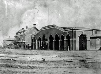 Northern Railway of Canada - View of the station in Collingwood, before the tracks were laid to the building. It burned down in 1873.