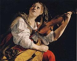 Juna virino violonludon de Orazio Gentilischi