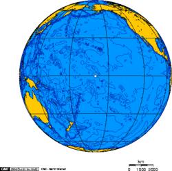 Ορθογρσφική προβολή με κέντρο πάνω από την Νήσο Τζάρβις
