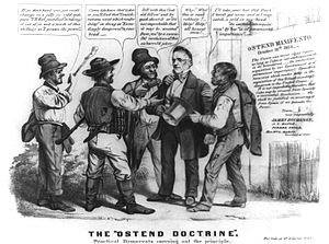 "Ostend Manifesto - A political cartoon depicts James Buchanan surrounded by hoodlums using quotations from the Ostend Manifesto to justify robbing him. The caption below reads ""The Ostend Doctrine""."