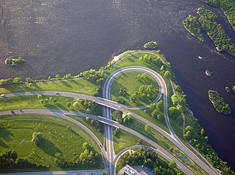 Glossary of road transport terms - A trumpet interchange in Ottawa