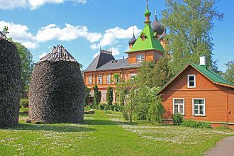 Pühtitsa Convent - The monastery yard features a number of 20-feet-high firewood stacks