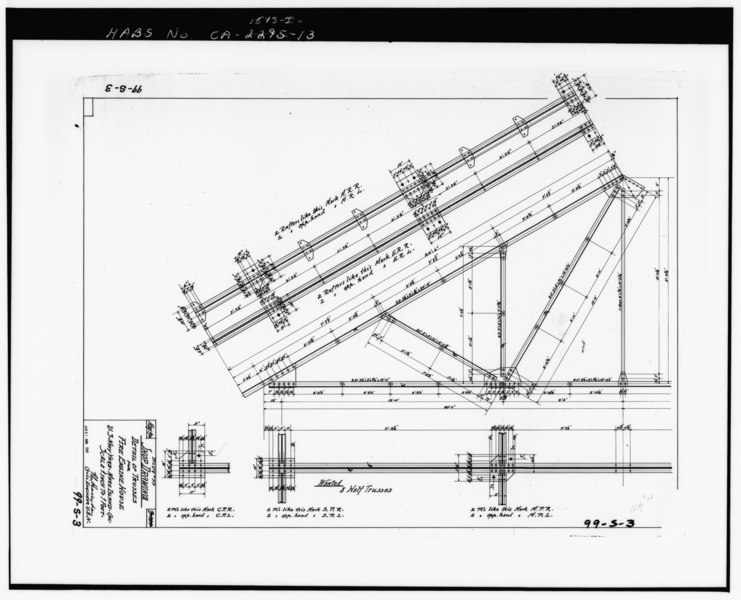 PHOTOCOPY OF DRAWING 99-S-3, SHOP DRAWING, DETAIL OF TRUSSES FOR FIRE ENGINE HOUSE, MAY 1900. - Mare Island Naval Shipyard, Firehouse, Vallejo, Solano County, CA HABS CAL,48-MARI,1-I-13