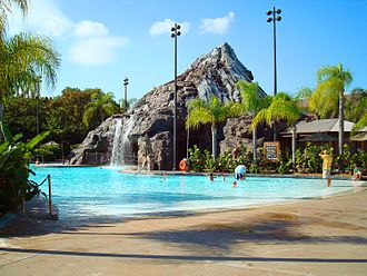 Disney's Polynesian Village Resort - The Lava Pool is the resort's main themed pool, featuring zero-entry, a water slide and water play area.