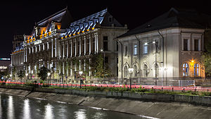 Palace of Justice, Bucharest - outdoor night photo.JPG