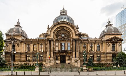 The CEC Palace is situated on Bucharest's Victory Avenue. Palacio CEC, Bucarest, Rumania, 2016-05-29, DD 65.jpg
