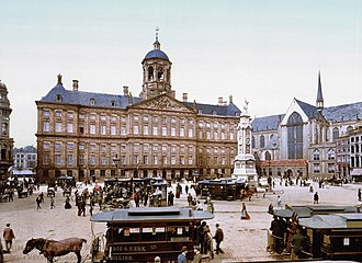 Trams in Amsterdam - In the late 19th century, Dam Square was the centre of the horse-drawn tramway network.