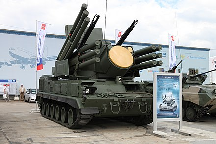 The Russian Pantsir-S1 can engage targets while moving, thus achieving high survivability. Pantsir-S1 SAM at Engineering Technologies 2012.jpg