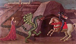 Flag of England - Saint George seen in the act of slaying the dragon. He is depicted wearing a jupon displaying the St George's Cross. Paolo Uccello (c. 1460)