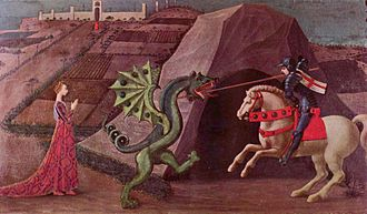 Damsel in distress - Paolo Uccello's depiction of Saint George and the dragon, c. 1470, a classic image of a damsel in distress.