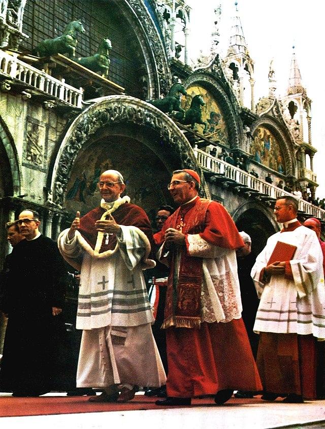 Pave Paul VI med patriark Albino Luciani (senere pave Johannes Paul I) i Venezia i 1972