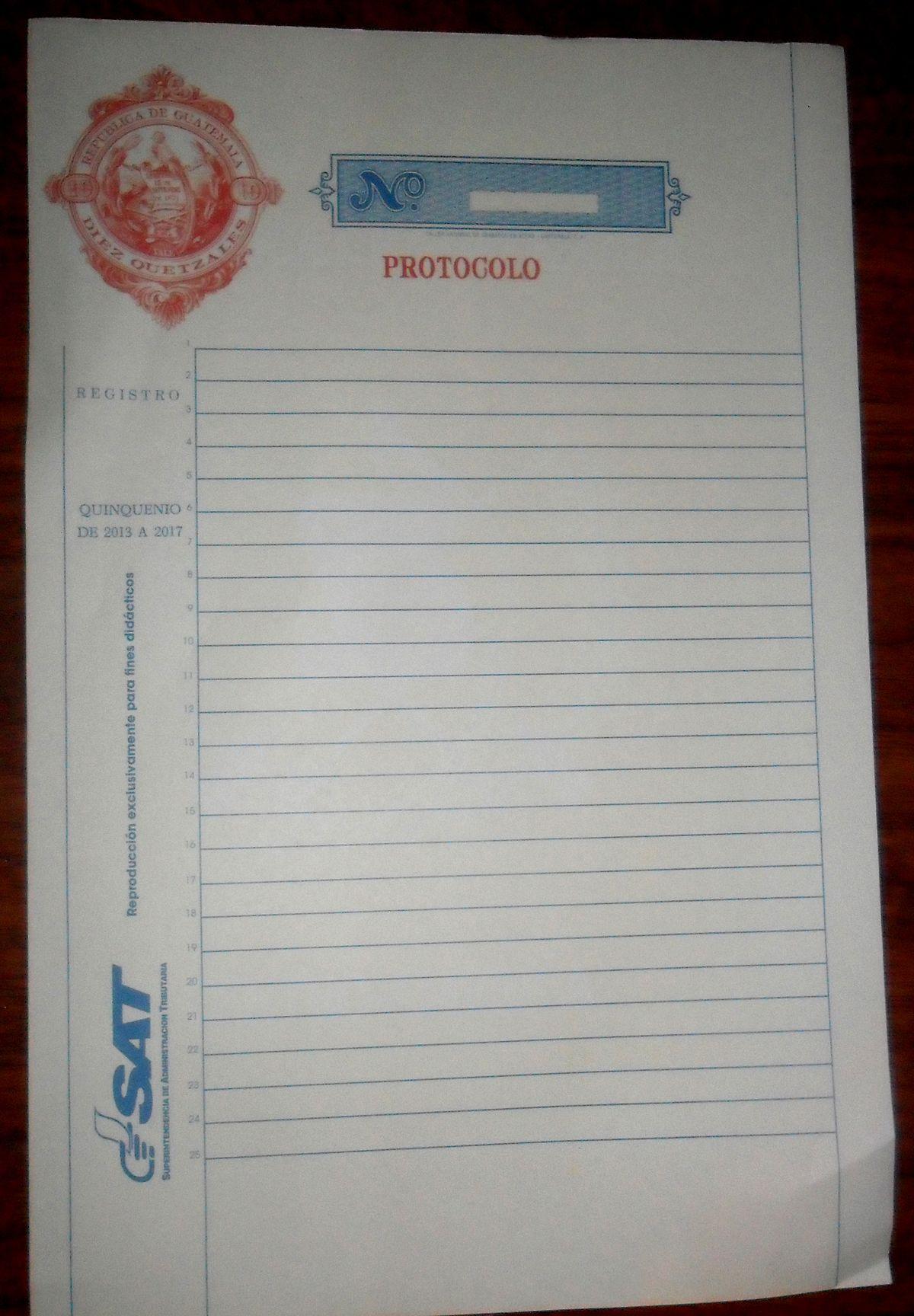 papel sellado especial para protocolo wikipedia la