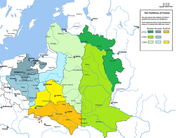 The three Partitions of the Polish-Lithuanian Commonwealth (1772, 1793, and 1795) Partitions of Poland.png