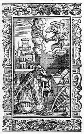 """Pjetër Budi - Sketch of Pjetër Budi from his book """"Paschyra e të rrëfyemit"""""""